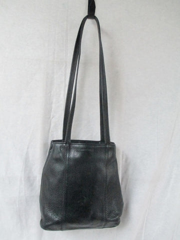 NINE WEST leather hobo satchel shoulder sling bag BLACK S bucket barrel tote