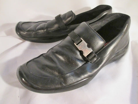 Authentic Mens PRADA 1187 LOAFER Leather Shoes Slip On Moc 11 BLACK Buckle