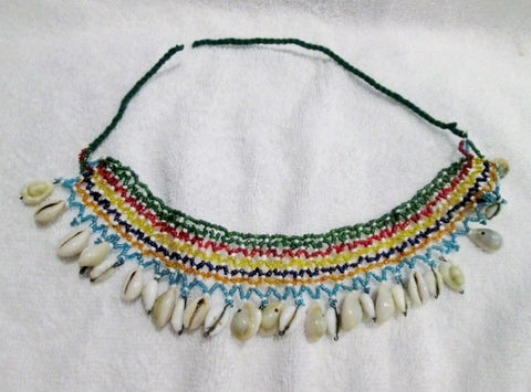 Fringe COWRIE SHELL EMBROIDERED Necklace Collar Bib Hippie Indie Gypsy RAINBOW Festival