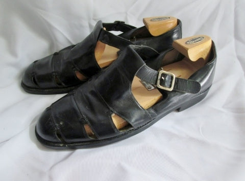Mens DIMITRI ITALY Leather CASUAL BUCKLE SANDALS SHOES BLACK 13