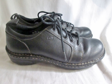 Womens BORN Hand Crafted Leather Lace Up Loafer Comfort Walking Shoes BLACK 7.5
