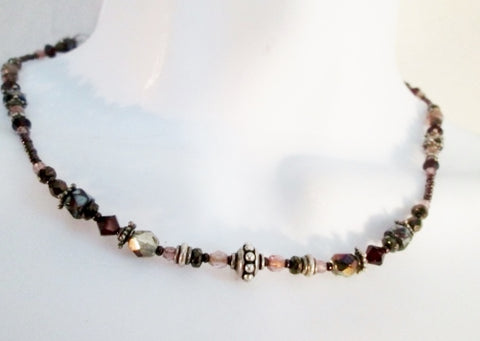 "15"" Handmade Glass Bead Necklace Choker Collar PURPLE RED SILVER Statement"