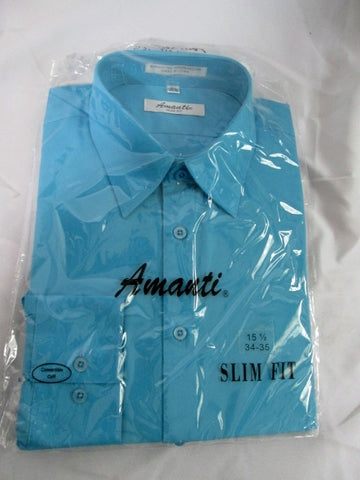 NEW Mens AMANTI SLIM-FIT Dress Shirt AQUA BLUE 15-15.5- 34/35 Convertible Cuff