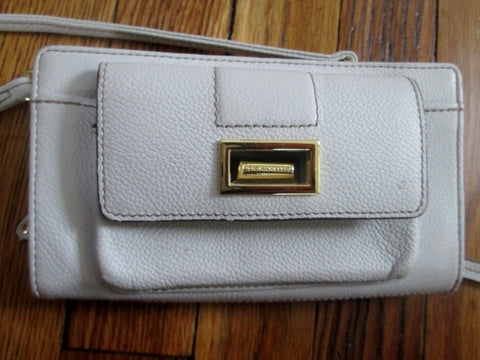 TIGNANELLO Leather Shoulder Bag Stitch Crossbody Travel Purse Wallet WHITE