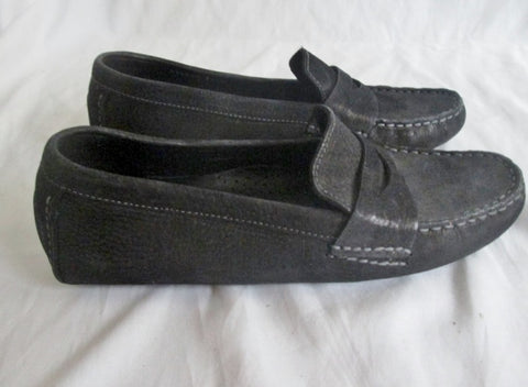 NEW Womens COLE HAAN MOC Suede Leather Slip on Shoe 7.5 BLACK Trek Loafer
