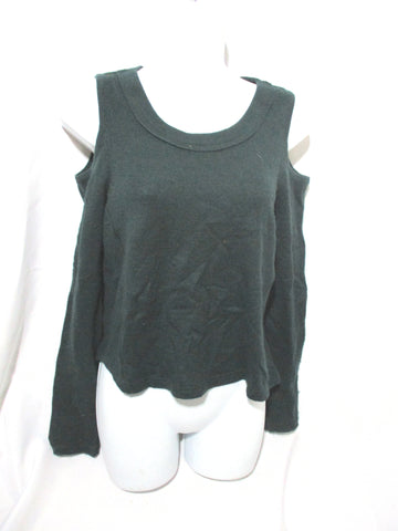 AQUA CASHMERE Cut-Out Cold Shoulder Sweater Top XS GREEN