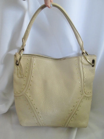 KENNETH COLE NEW YORK Pebbled Leather Stud Hobo Handbag Satchel Purse CREME ECRU WHITE