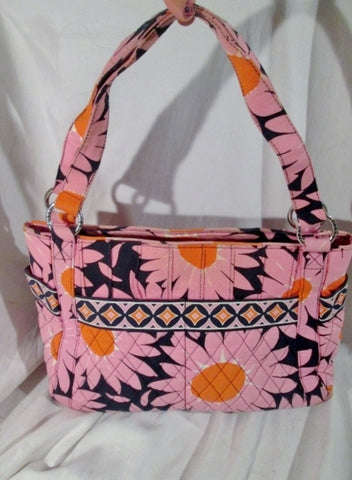 VERA BRADLEY Vegan Quilted Bag Satchel Bowler FLORAL PINK SUNFLOWER L