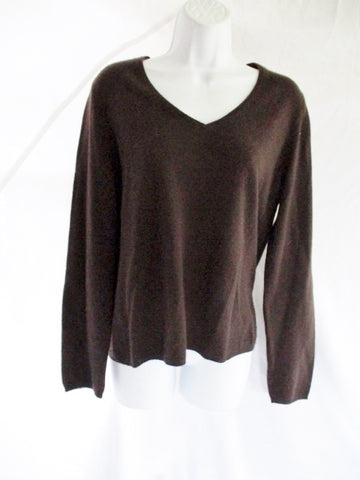 SUTTON STUDIO 100% CASHMERE Knit Pullover Sweater TOP XL BROWN Womens