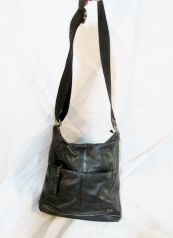 THE SAK Leather Shoulder Saddle Hobo Bag Satchel Purse Crossbody BLACK Swingpack