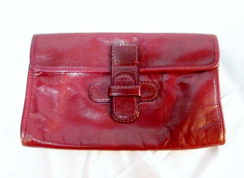 MADE IN FRANCE LEATHER clutch bag flap purse case pouch wallet BURGUNDY RED