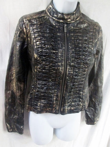 Womens BLANC NOIR faux vegan leather jacket hipster moto coat BLACK GOLD XS