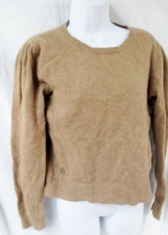 Vintage Womens RALPH LAUREN RUGBY Crewneck Top Sweater SKULL M BEIGE BROWN