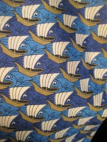 Mens ART OF M.C. ESCHER Neck TIE Necktie FISH & BOATS Symmetry E72, 1948 BLUE
