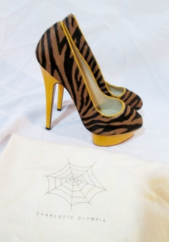 CHARLOTTE OLYMPIA Calf Hair PUMP LEOPARD Shoe 36 6 YELLOW Platform