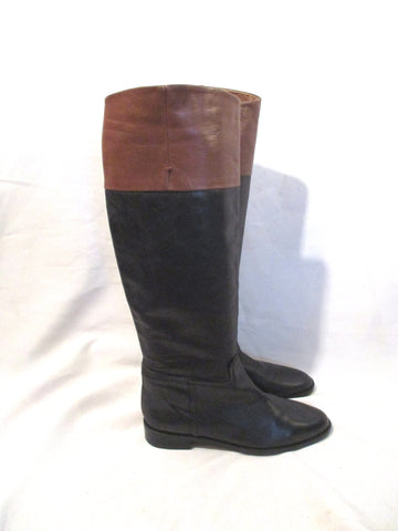 ZARA WOMAN LEATHER Equestrian RIDING BOOT 40 BLACK BROWN Knee High