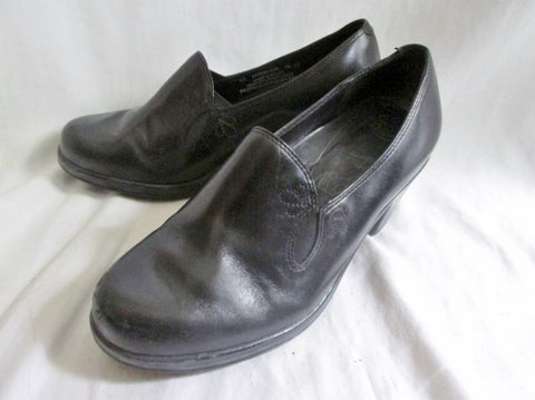 Womens DANSKO FLORAL Leather Clog Shoe Slip-On Loafer Moc Heel BLACK 7.5 Walking