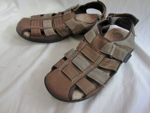 NEW Mens CROFT & BARROW SHOES Sandals Leather Canvas BROWN 11 Camping Trek