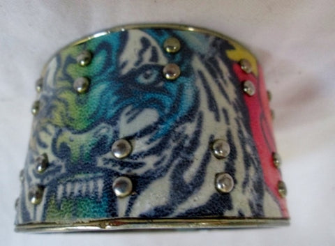 TATTOO ART TIGER ROSE Bracelet Shackle Cuff Bangle Arm Band RAINBOW RIVET