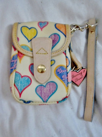 DOONEY & BOURKE Signature HEART Purse Wallet Clutch Pouch Case Wristlet MULTI