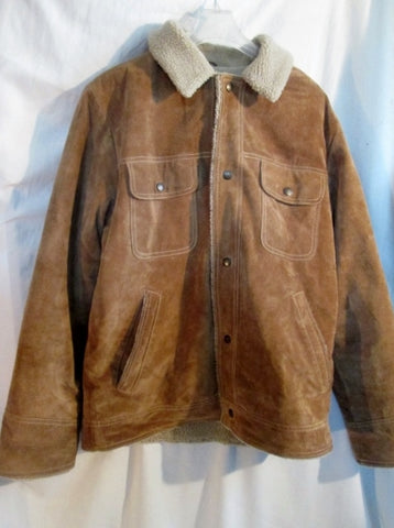 MENS M. JULIAN SHEARLING SUEDE Leather flight moto jacket coat BROWN M riding