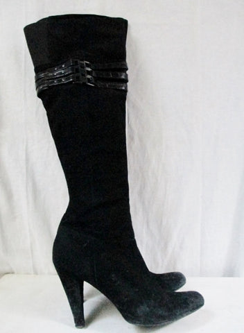 CALVIN KLEIN WAVERLY Leather Suede Knee High Goth BOOT Shoe BLACK 10