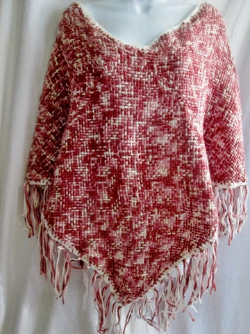 New ATELIER ADONAY Handmade LOOM Poncho Cape Jacket Hippie PINK BROWN OS FRINGE Ethnic