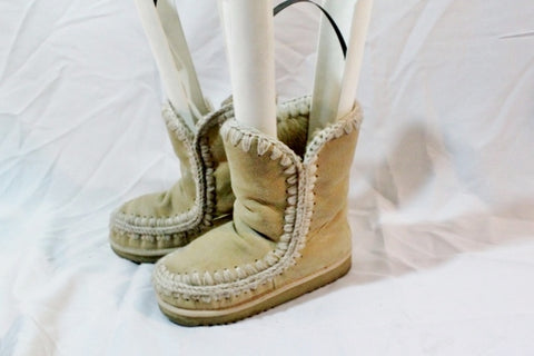 Womens MOU ESKIMO Leather SHEARLING Mukluk Stitch Boot 6 CREME WHITE TAN ECRU