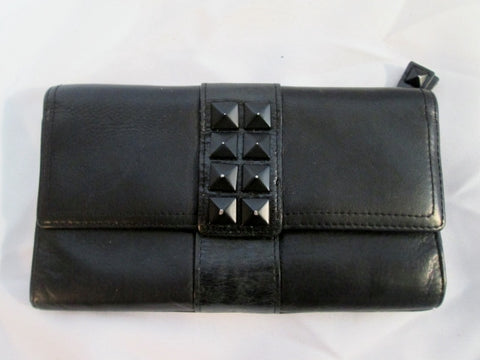 KENNETH COLE REACTION TRIFOLD SPIKE Leather Wallet BLACK Organizer change purse