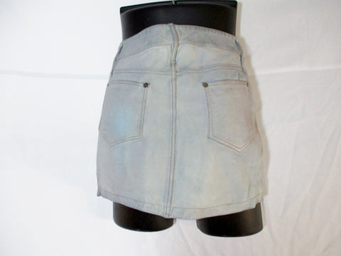 NEW NWT ALEXANDER MCQUEEN OVERDYED Leather Mini Skirt 42 / 10 BLUE GRAY WOMENS