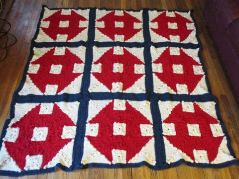 Handmade Crochet 1970s USA Blanket Throw Bedspread Cover Knit RED WHITE BLUE 75x69