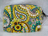 VERA BRADLEY wallet organizer Zip Cosmetics Case Makeup Bag YELLOW BLUE