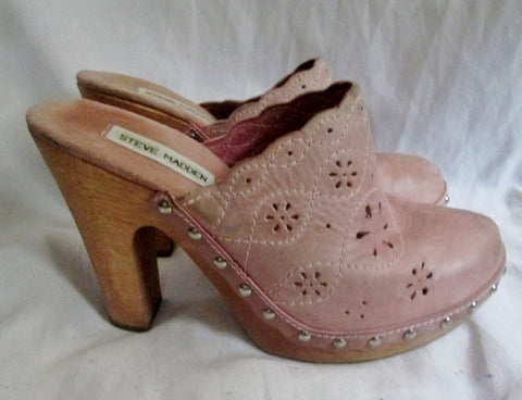 Womens STEVE MADDEN LENNIE Leather Clog High Heel Slip-On Mules 9 PINK BEIGE