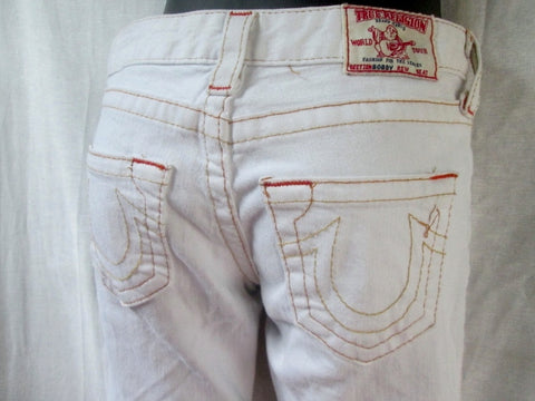 Womens TRUE RELIGION BOBBY JEANS Denim PANTS Dungarees WHITE CREME 25 X 29