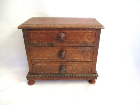 Vintage 3 Drawer Jewelry CHEST Wood Box BROWN Distressed