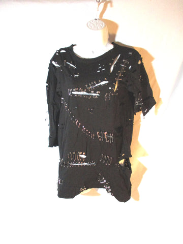 NWT NEW BALMAIN PARIS Safety Pin Punk Tee Top T-Shirt 38 / S Goth Emo
