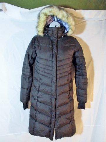 LOLE LONG DOWN PUFFER JACKET Coat Parka BROWN 2 Hood Womens