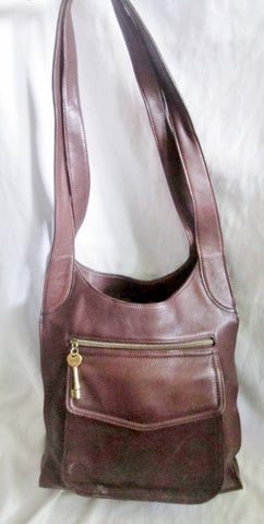 Auth FOSSIL TOTE 75082 carryall shopper leather handbag hobo bag BROWN
