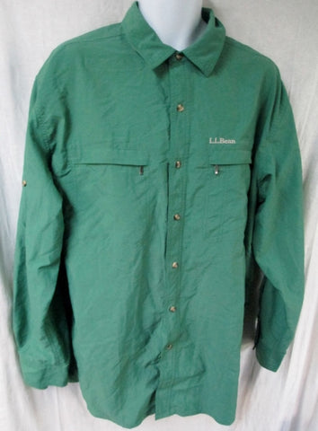 MENS L.L. BEAN Nylon Work JACKET Shirt Coat Windbreaker GREEN XL 5AX48