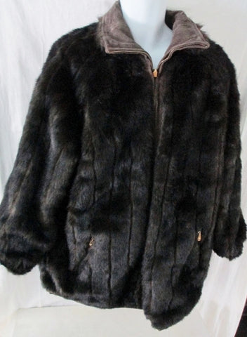 Womens JLC Suede Leather Coat Jacket Faux Fur REVERSIBLE BROWN L BLACK