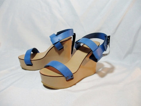 NEW CHLOE PLATFORM WEDGE NAIM CALF Shoe Sandal 36 / 6 BLUE ESPADRILLE