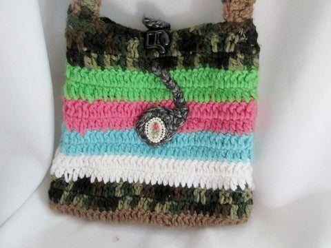Handmade Crochet GRANNY Blanket COLORFUL Hippie Striped MUSIC NOTE Knit