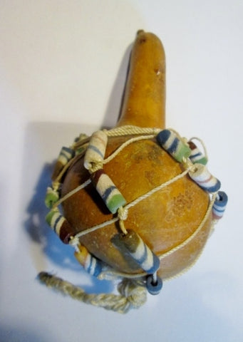 Handmade Beaded AFRICAN SAND Wrapped GOURD Rattle Ethnic Colorful Maraca ART