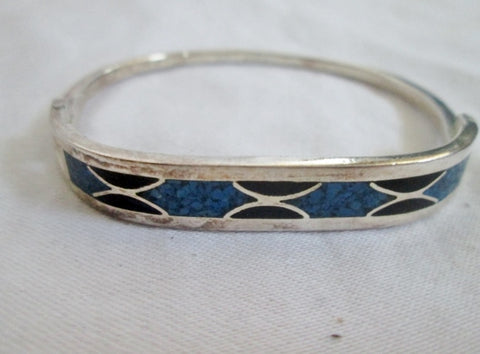 Signed 925 STERLING SILVER Bracelet Cuff Bangle MEXICO BLUE BLACK Jewelry 15g