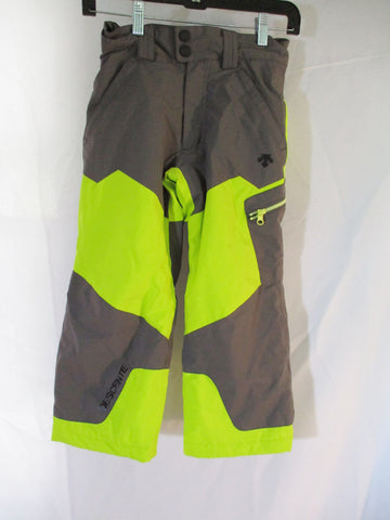 Kids DESCENTE Winter Ski Snowboard Snow Pants 6 GRAY NEON YELLOW