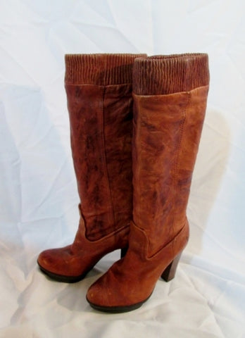 Womens F0011 FRYE MIMI SCRUNCH BOOT Tall BROWN LEATHER 7.5