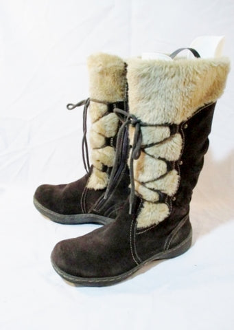 Womens BARE TRAPS Suede Leather Sherpa MUKLUK Boots Boot 9 BROWN