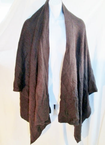 BCBGMaxAzria Knit Shawl Cape Wrap Coverup Stole BROWN ANGORA CASHMERE WOOL