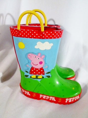 Little Kids Toddler PEPPA PIG Wellies Rain Boots Rainboots Gumboots Shoes 7 Colorful Fun!