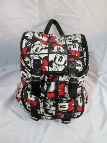 DISNEY MINNIE MOUSE Backpack Rucksack Travel Book Bag Black White Red